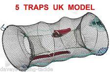 5 UK LEGAL CRAYFISH TRAPS+LINE LIVE BAIT KEEP DROP NET POT CRAB SHRIMP LOBSTER