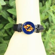 Glass Cabochon Leather Charm Bracelet Zodiac Pisces men's Bangle 20 mm