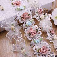 1Yard Flower Lace Trim Butterfly Ribbon Wedding Dress Sewing Fringe Craft Decor
