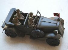VINTAGE GERMAN MILITARY WIND UP TOY TIN CAR + SOLDIERS, WWII, EXTRA RARE, 1930s