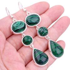 Green Malachite drop Earring Jewelry Design Fashion Wedding Women Lady Gift