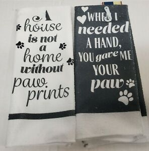 """SET OF 2 DIFFERENT MICROFIBER TOWELS (15"""" x 25"""") INSPIRATIONAL PAW PHRASES, GR"""