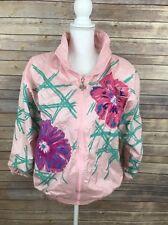 Vintage 1980s 90s Ladies Windbreaker Full Zip Up Pink Flower Shoulder Pads