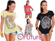 Womens Casual T-Shirt Tiger Print Short Sleeve Summer Cotton Top Size 8-14 FB281