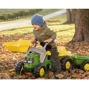 Rolly Toys Kids John Deere Tractor Pedal Ride On With Front Loader & Trailer NEW