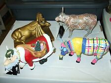 Cow Parade figurine lot of 4 UDDER PUTTER Father Cowristmas Metallicow Egyptian