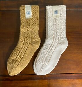 Free People Lodge Cozy Cable Knit Socks Ivory or Golden Beige One Size NEW
