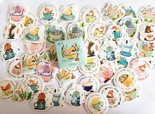 1 box 45 PCS Cartoon Animals In Cups Scrapbookdiary Notebook Decorative sticker