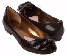 New PARIS HILTON Women Brn Patent Leather Bow Peep Toe Flat Sandal Shoe Sz 7 M