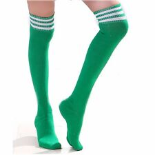 St Patricks Day Thigh High Over Knee Athletic Soccer Rugby Sports Stripes Socks