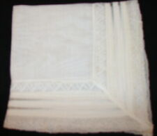Vtg Handkerchief White with rows of lace and ribbon D3-11