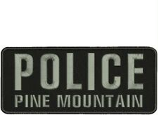 police pine mountain embroidery patch 4x10 hook on back black /gray