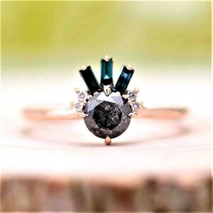 Diamond Ring, Natural Salt And Pepper Gray Round Cut Engagement Ring