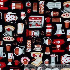 BonEful Fabric FQ Cotton Quilt Black Brown Coffee Shop Blender Cup Tea Bean Xmas