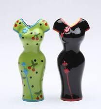 62405 Cocktail Cuties Salt Pepper Shaker Party Black Green Cheongsam Asian Dress