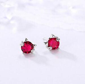 Boucles d'Oreilles Fantaisie Puces Chat Cristal Rouge Grenat - Bijoux des Lys