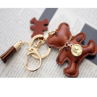 Women bag accessory genuine leather tassel charm Key chain ring Handbag ornam394