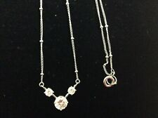 CZ Sterling Silver Chain & Ball Necklace w/Attached Crystal Pendant
