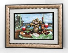 Wall frame flowers & wine on a table / Resin / Home decorative