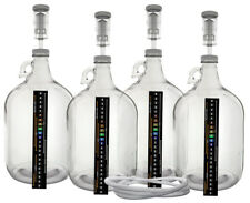 Pack of Four 1 Gallon Glass Jugs with Lids, Airlocks, Thermometers & Blow Off