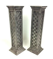 Textured Embossed Metal Wrapped 2 Taper Candle Holders Columns Shelf Mantel