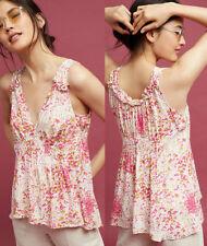 ANTHROPOLOGIE Maeve NWT Bretta Gathered Tank Top Knit Pink Print Sz S $68