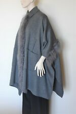 MAX MARA Weekend, Cape Coat with Fur Details in Gray, Size S