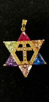 Star of David w/ cross necklace. Gold plated. Colors.  Messianic Jewish Yeshua!