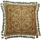 THROW PILLOW TRADITIONAL ANTIQUE 22X22 BRONZE GREEN GOLD COTTON CANVAS WOOL