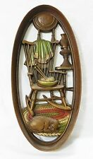 Vintage burwood home decor oval wall plaque plastic rocking chair cat