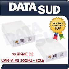 Carta DS A5 80 g/mq (148x210mm) - 500 Fogli - 10 RISME per Stampanti e Fotocopie