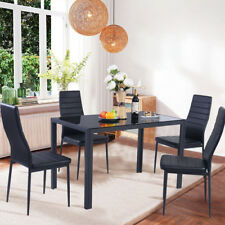 Black High Gloss Dining Table Set & 4 Faux Leather Dinning Chair Cafe 5Pieces UK