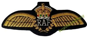 Royal Air Force (RAF) Gold Wings Kings Crown On black Cloth (High Quality) New
