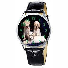 Three Cute Labrador Puppies Stainless Wrist Watch Wristwatches