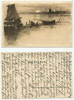 09378 - A. Heide: Sonnenuntergang am See - alte Ansichtskarte