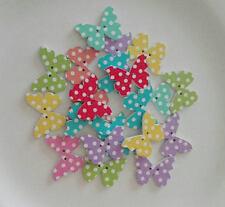 10 Bottoni in legno a forma di Farfalla in colori misti a Pois 28x21mm
