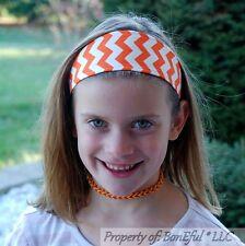 BonEful RTS NEW Boutique Girl Orange White Chevron Fabric Headband Florida Gator