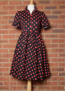 LINDY BOP Dorothy Cotton Swing Shirt Dress Black Red Polka Dot Spotted UK 10