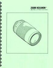 New listing Konica Zoom Hexanon Ar 35-70mm F3.5 Lens Service & Repair Manual Reprint