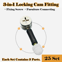 25x Furniture Cabinet Cam Fitting Connector Dowel Pre-inserted Nut Set 15x10mm