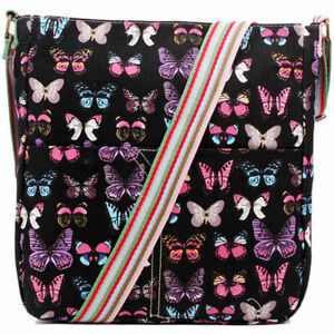 Canvas Butterfly printed Cross body Shoulder Messenger bags School bags