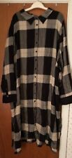 NWT Roaman's Black & White Buffalo Plaid Rayon Long Sleeve Shirt Dress~sz. 32W