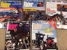 LOT( 5) 1990 RIDER MOTORCYCLE MAGAZINES,YAMAHAS,MOTOGUZZI,BMW,CAGIVAS,HARLEYS74A