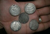 Lot Sale 5 Authentic Ancient Islamic Silver Umayyad Coins Circa 661-750 CE