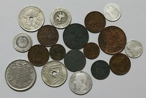 BELGIUM OLD COINS LOT WITH SILVER B38 ZF47