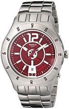 Swatch Men Irony In A Burgundy Mode Steel Dress Watch Date 44mm  YTS405G $160