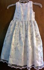 Cinderella Girl's Dress White Formal Embroidered Floral Overlay, Size 5