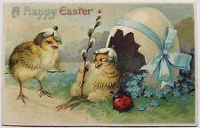 Fantasy Easter Chicks Flower Petal Hats Sleeps outside Eggshell Hut w/ Ladybug