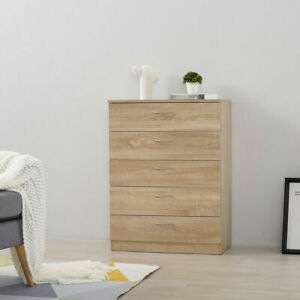 Modern 5 Drawer Chest of Drawers Bedside Table Cabinet Wardrobe Bedroom Storage
