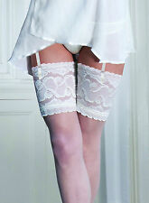 Bridal Soft and Sheer Deep Lace Top Stockings With 12 Spandex by Couture Large Ivory